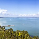 Lake Balaton, panoramic view from Tihany Abbey in summer, Hungary